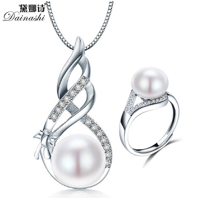 Fine Pearl Pendant &Necklace& Rings Set For Women Jewelry 100% Natural Freshwater Pearl In Gift Box