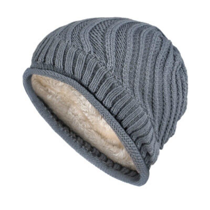 Winter Hat Knitted Female Girls Fleece Thick Skull Beanies Hat For Men Hip Hop Head Warmer Wool Ski Caps Bonnet Blue Red Gray