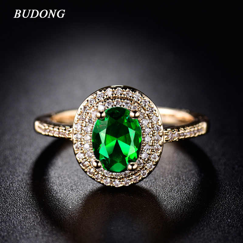 2017 BUDONG Stylish Halo Finger Ring  Gold-Color Shiny Big Green Oval Crystal Zirconia Luxury Wedding Jewelry For Women XUR293