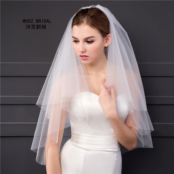Gaya sederhana Bridal Veil 2 T Cut Ujung Elegant Lembut Tulle 2017 Gambar Nyata Harga Grosir Putih/Gading Pendek pernikahan Kerudung