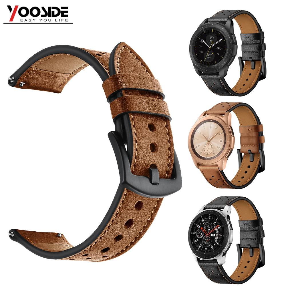 YOOSIDE Premium Soft Genuine Leather Breathe Watch Band Strap for Samsung Galaxy Watch 46mm/42mm Smart Watch  With Quick Release strap