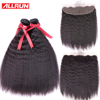 Allrun Kinky Straight Hair Bundles With Frontal 13*4 3 Pcs Brazilian Hair Weave Human Hair Bundles With Lace Closure Non Remy
