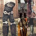 2016 nova Primavera Verão Mulheres Moda Leite Preto leggings Stretch Fino Estrelas Coloridas Graffiti Leggings Skinny Slim Calças Femininas