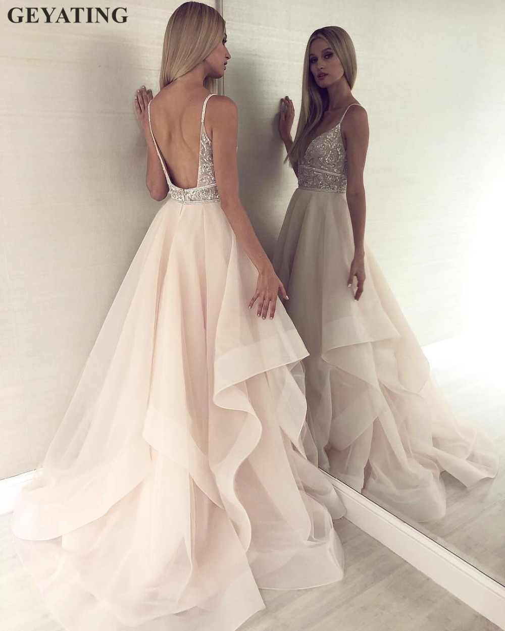Champagne Tulle Open Back Wedding Gown 2019 Sexy Spaghetti Straps Beaded Crystal V Neck Ruffled Boho Wedding Dresses Plus Size