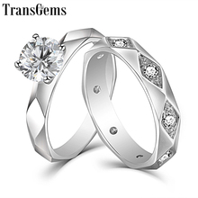TransGems Solid 14K White Gold Moissanite Coupon Ring for Lovers 1ct 6.5mm F Color Ladies 2.5mm Band