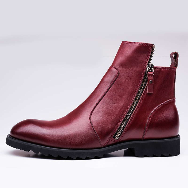 Omde Men Boots Genuine Leather Black Red Luxury Fashion Clic Business Office Formal Ankle Shoes Male Masculina Bota