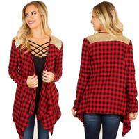 2017 Kobiety Moda Pełna Rękaw Plaid Kieszenie Casual Lapel Przycisk dół Bluzka Hot Sprzedaż Długim Rękawem Koszula Plus Size Tops Y3