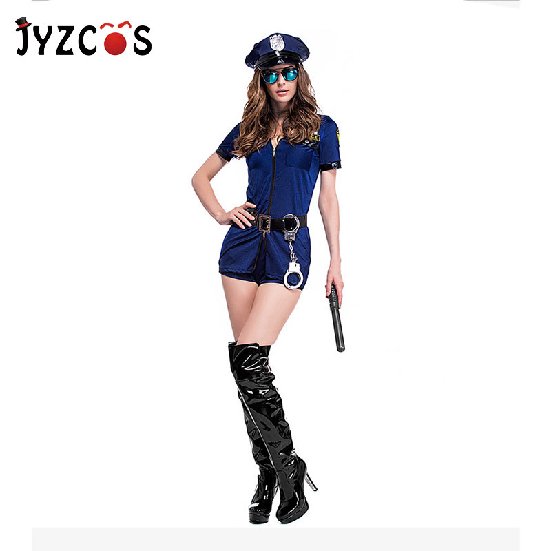 JYZCOS Adult Sexy Cop Costume Halloween Policewomen Cosplay Fancy Dress Uniform