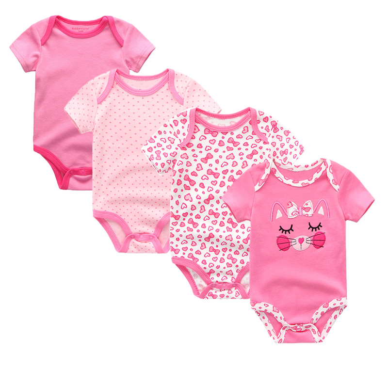 4pcs/lot Baby Boys&Girls Clothes cotton baby rompers 2018 0-9M baby summer children clothing cartoon baby Jumpsuit  Bebe romper puseky 2017 infant romper baby boys girls jumpsuit newborn bebe clothing hooded toddler baby clothes cute panda romper costumes