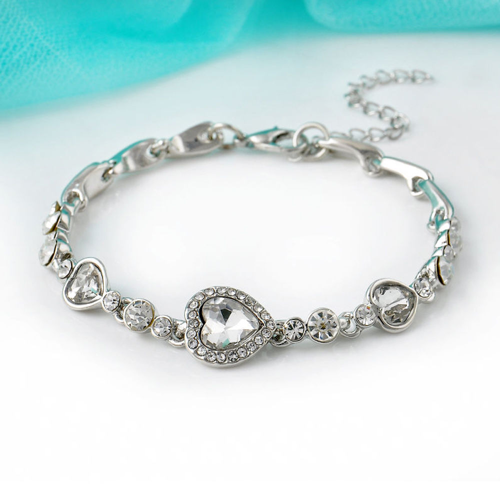 Fashion Charming Women Ocean Blue Crystal Rhinestone Heart Bangle Bracelet  New-in Chain   Link Bracelets from Jewelry   Accessories on Aliexpress.com  ... 80adcf3d2b5a