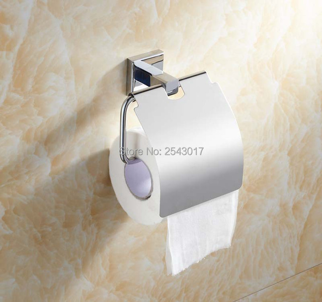 brass toilet paper holder chrome finish bathroom accessories square tissue boxes wall mounted zr2339