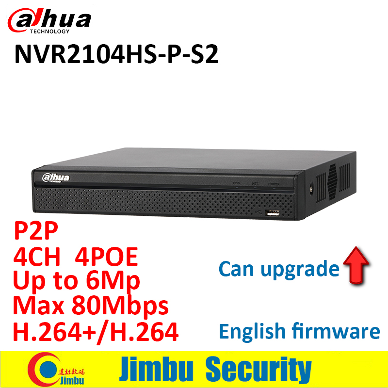 Dahua NVR 4CH NVR2104HS-P-S2 Compact 1U 4PoE Lite H.264+/H.264 Up to 6Mp Network Video Recorder Max 80Mbps bandwidth ixfk66n50q2 to 264