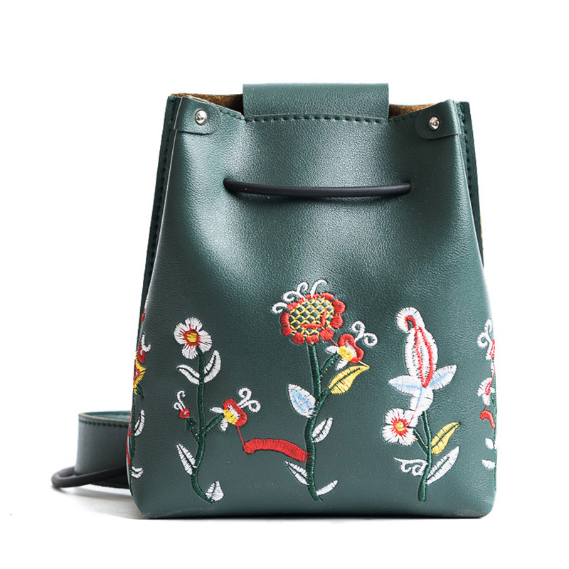 PU leather embroidery floral women coin purses small organizer wallets mini phone pouches carteiras bolsas money bags for girls