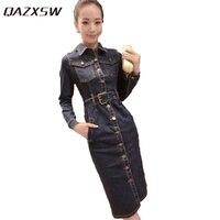 QAZXSW 2018 Spring Women Denim Dress Plus Size Vintage Jeans Dresses With Pocket L 6XL Elegant