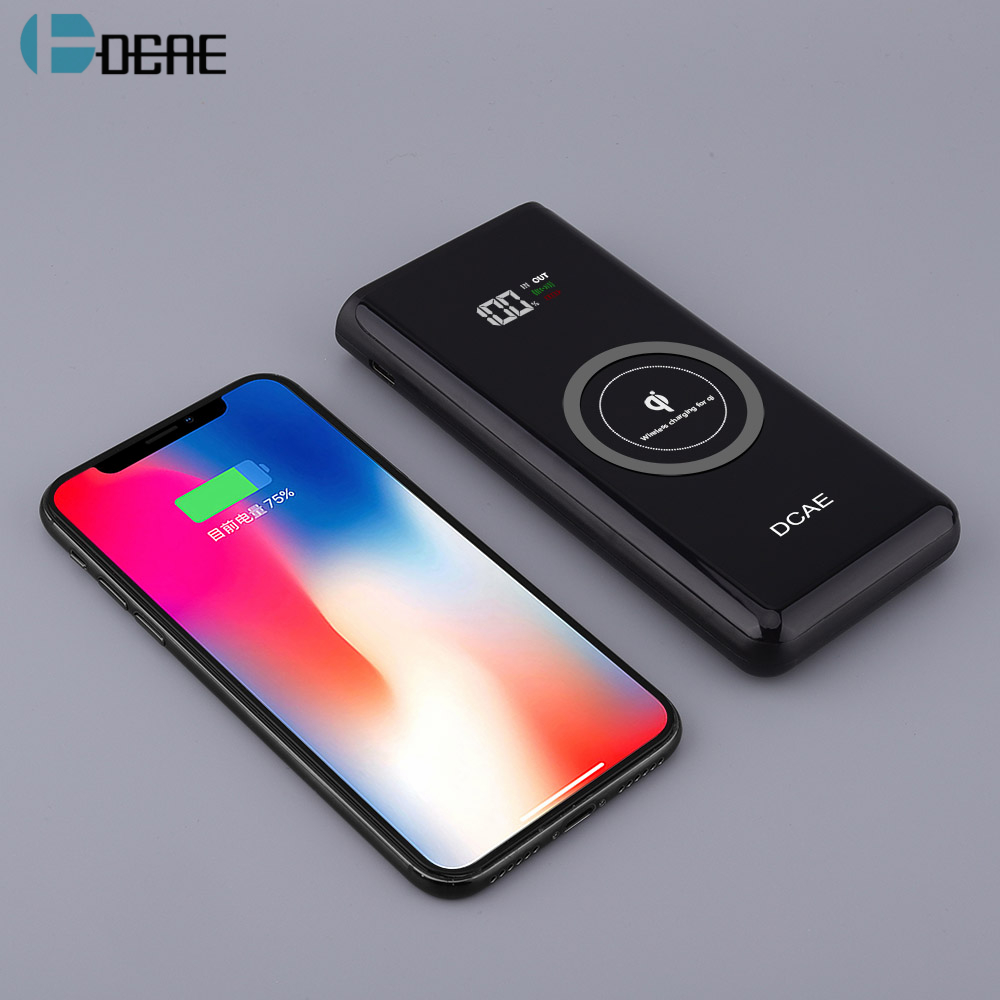 DCAE 10000mah Power Bank External Battery Quick Charge Qi Wireless Charger Powerbank for iPhone X 8 Samsung S9 S8 Xiaomi Huawei