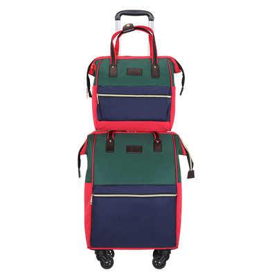 Женские портативные сумки на колесиках, наплечная дорожная сумка, наборы багажа, Большой Вместительный рюкзак, чемодан из материала Оксфорд, набор 20 дюймов, водонепроницаемый