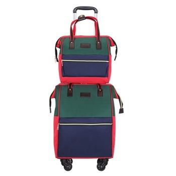 "Woman Portable trolley bags on wheels shoulder travel bag sets Luggage large capacity Backpack Oxford suitcase set 20""waterproof"