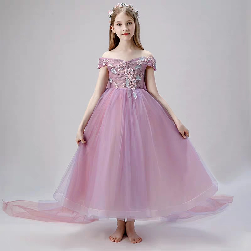 Filles robe de soirée d'anniversaire 2019 été enfants robe pour enfants Costume élégant robe de princesse fleurs filles robe de mariée