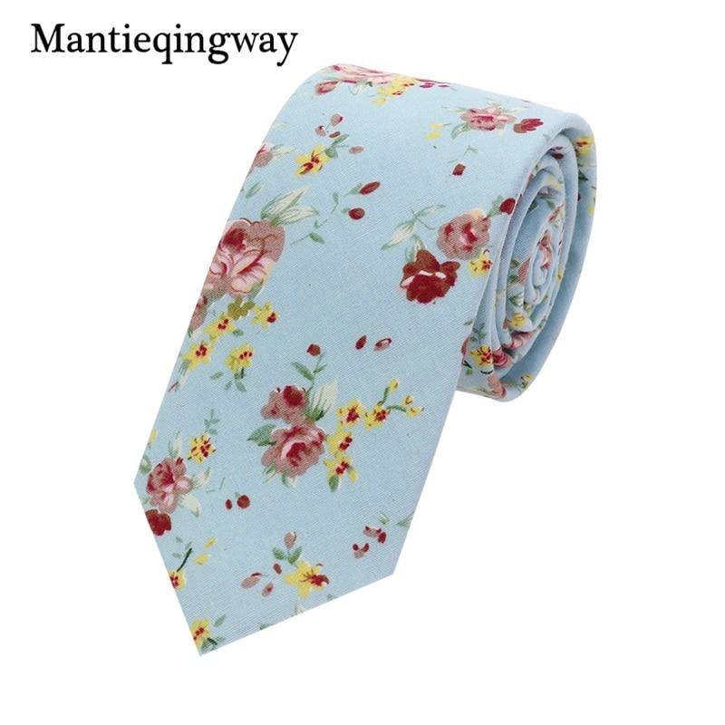 Mantieqingway Esküvői virágkötések férfiaknak Kék virágpontok Pamut keskeny nyakkendő Vékony Cravat nyakkendők téli férfiaknak félig nyakkendő