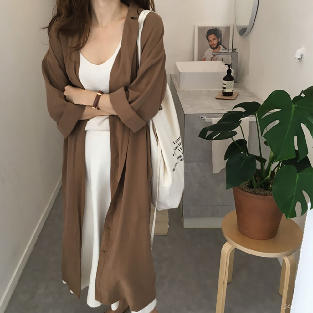 2018 Women's Summer Solid Single Breasted Turn Down Collar Long Sleeve Bandage Cotton Thin Trench Coat Female Loose Windbreaker