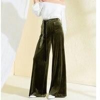 Pleuche Брюки 2018 осень зима Для женщин пикантные клеш оливково зеленый брюки Высокая талия широкие штаны