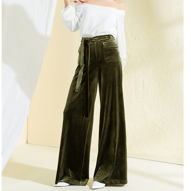 Pleuche Pants 2018 Autumn Winter Women Sexy Bell Bottom Olive Green Trousers  High Waist Wide Leg Pants b483899cef98