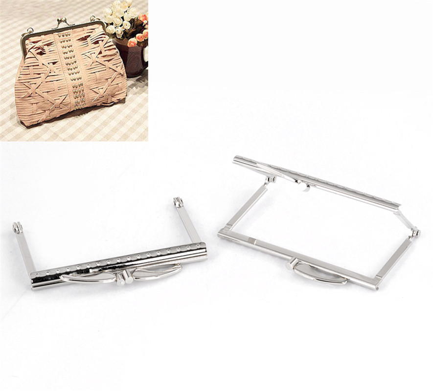 PACGOTH Iron Based Alloy Kiss Clasp Lock Purse Frame Rectangle Silver Tone 10.5x7.4cm, Open Size: 13.9x10.6cm, 1 Pc fggs 1pc metal purse bag frame kiss clasp lock silver tone size 16 5x9 5cm