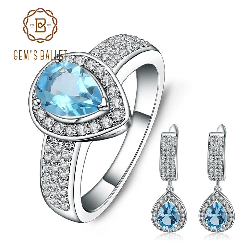 GEM S BALLET Natural Swiss Blue Topaz Wedding Jewelry Set 925 Sterling Silver Gemstone Vintage Earrings