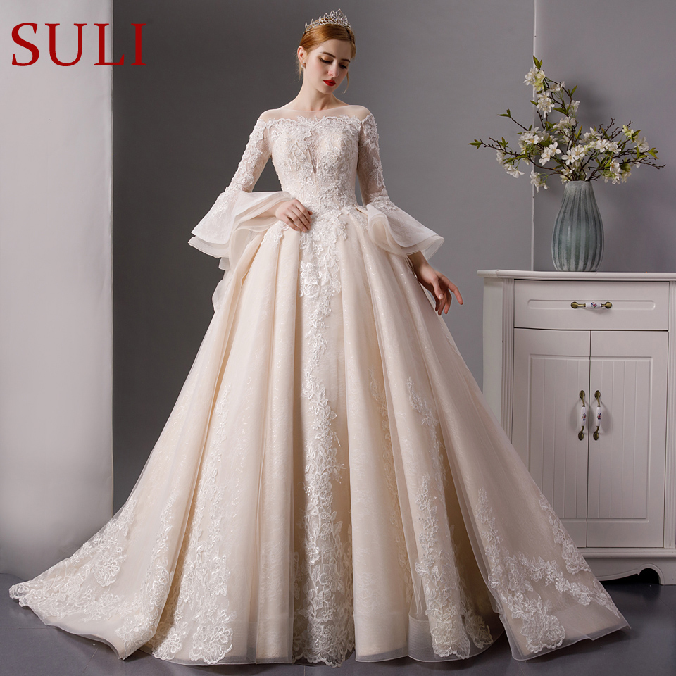 Crystal Wedding Gown: SL 6069 Vintage Lace Long Sleeves Bridal Gown Beaded