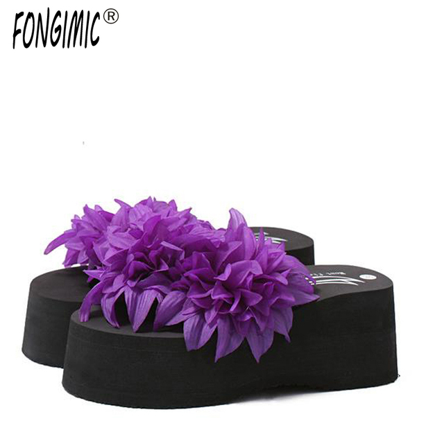70e27481a291 New Top Sale Summer Women Flip Flops Fashion Big Flower Sandals Lady Wedges  Comfortable Flip Flops New Style Soft Beach Slippers