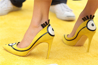 Discount Cutest Sweet Leisure Casure Girls Pointed toe Two Cartoon Images Eyes On Front And Back Upper Lady Pumps High Heel Shoe