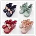 Mini creme cheiro de Melissa meninas Botas de chuva do bebê todder 1-8years Arco adoráveis meninas moda botas antiderrapante sapatos de água Sapato