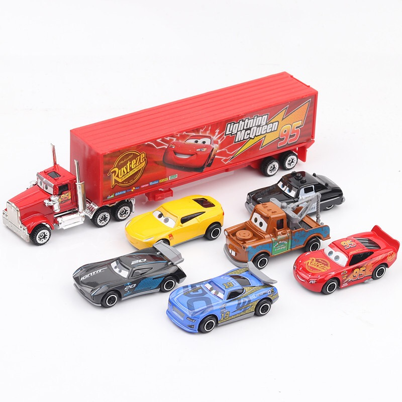 7pcs disney pixar cars 3 lightning mcqueen jackson storm mack uncle truck 1:55 diecast abs model birthday gift toy for children