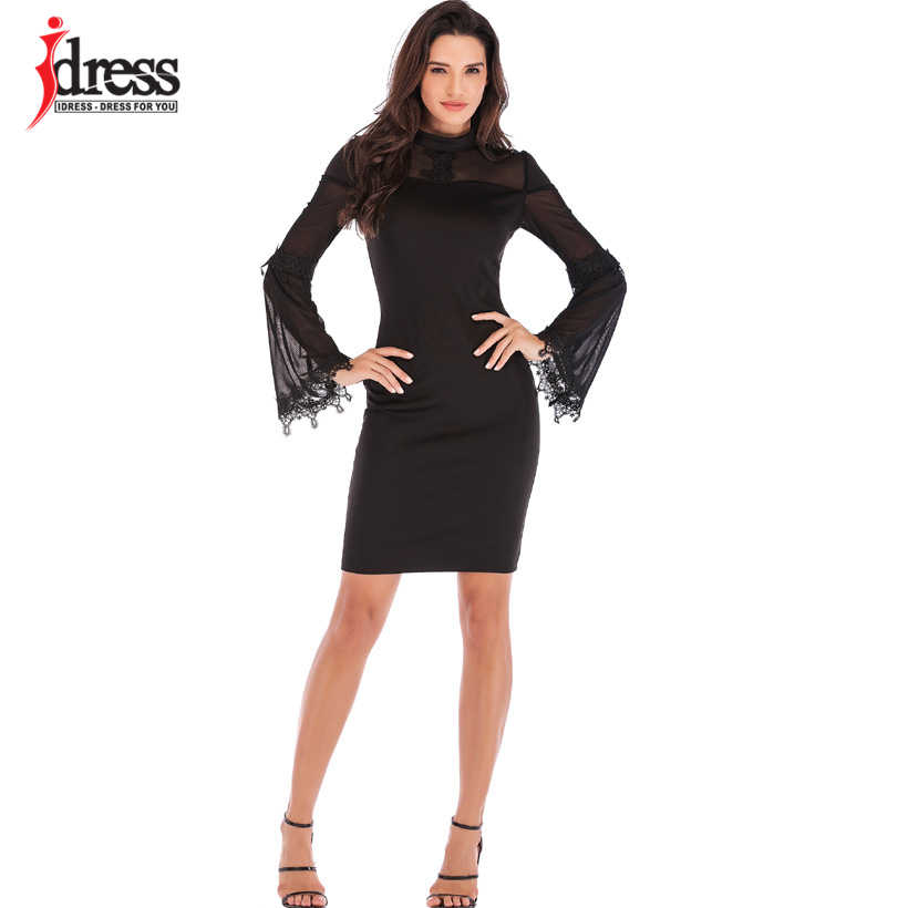 ... IDress New Turtleneck Long Sleeve Celebrity Bodycon Bandage Dress 2019  Winter See Through Mesh Sexy Women ... ab4cdcd349d9