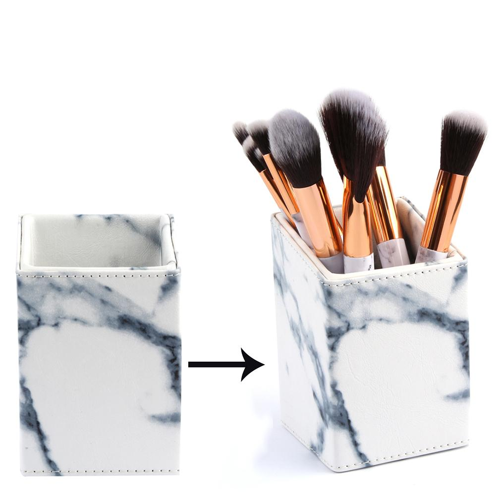 Fashion Marble Design Makeup Brushes Cylinder Holder Cosmetic Brush Storage Barrel Bucket Stand Cosmetic Beauty Tools