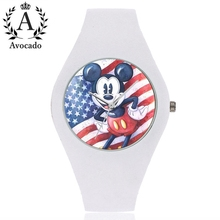 Avocado Mickey & Minnie mouse kids watches cartoon silicone Fashion Sports Childrens Watches 2019 New Clock