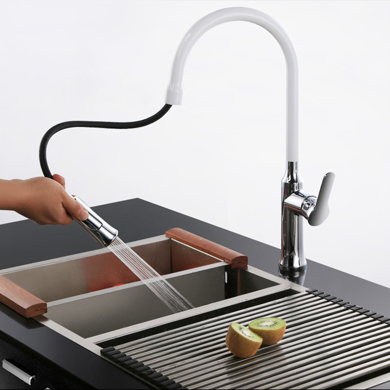 цена на Full copper hot water and cold water basin faucet, retractable revolving sink, kitchen faucet