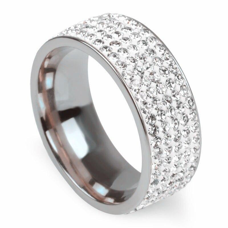 5 rows crystal stainless steel rings for women full finger for Wedding ring finger for men