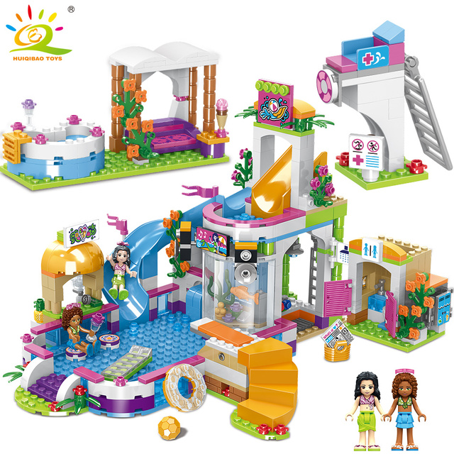 HUIQIBAO TOYS 768pcs Heartlake Swimming Pool Building Blocks Compatible legoing Friends For Girls Figures children Bricks kit