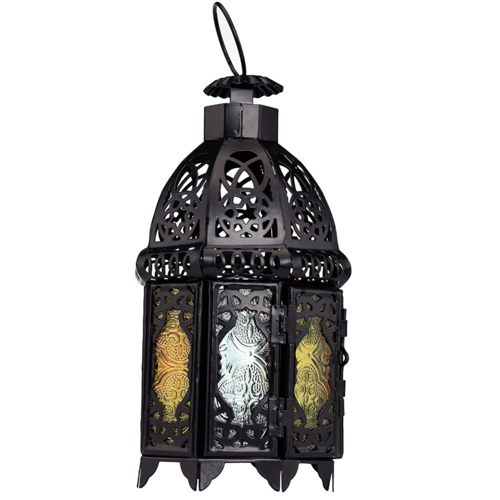 Retro Moroccan Style Matte Black Cast Handmade Octagonal <font><b>Candle</b></font> Lantern with Glass Decoration for Living Room Balcony Garden