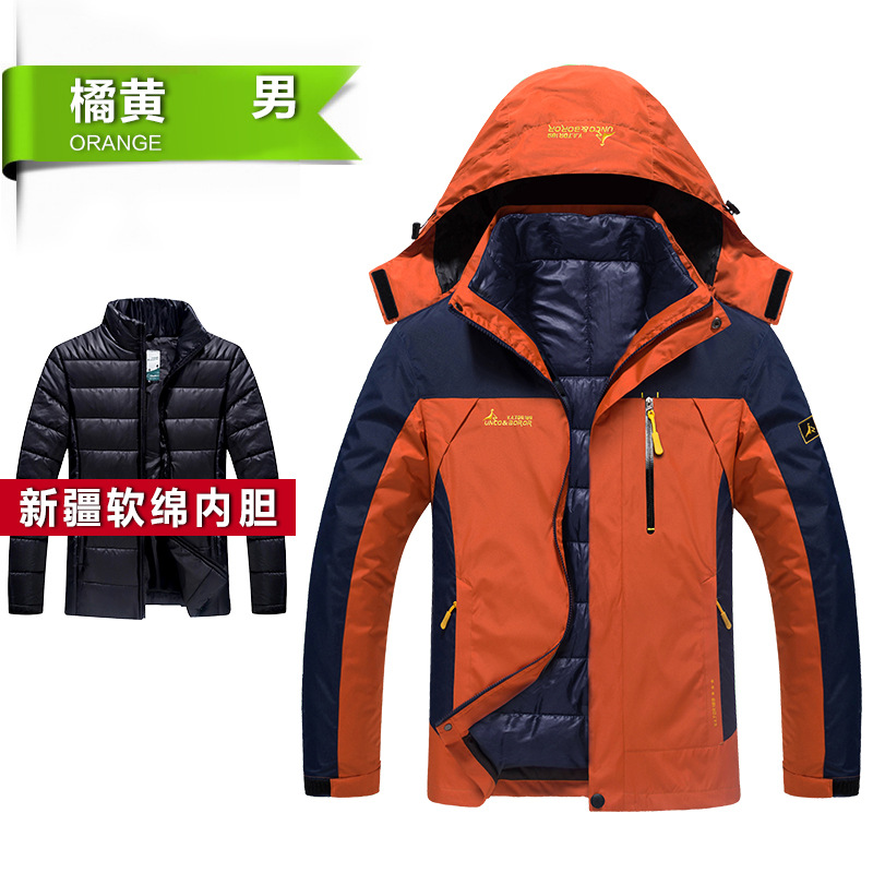 ФОТО 2017 Men's Winter Warm Inner Fleece Waterproof Jacket Outdoor Sport Warm Brand Coat Hiking Camping Trekking Skiing Male Jackets