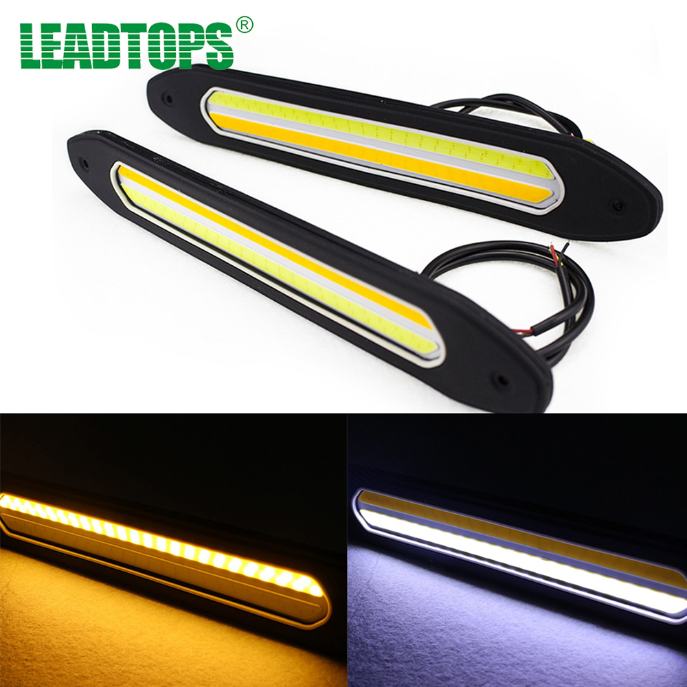 2Pcs LED Car Fog Lights COB Daytime Running Lights Turn Signal Light Flexible DIY DRL Silicone Waterproof for kia sportage CB 2pcs waterproof white and yellow car headlight cob led daytime running lights drl fog lights with turn signal light in russia