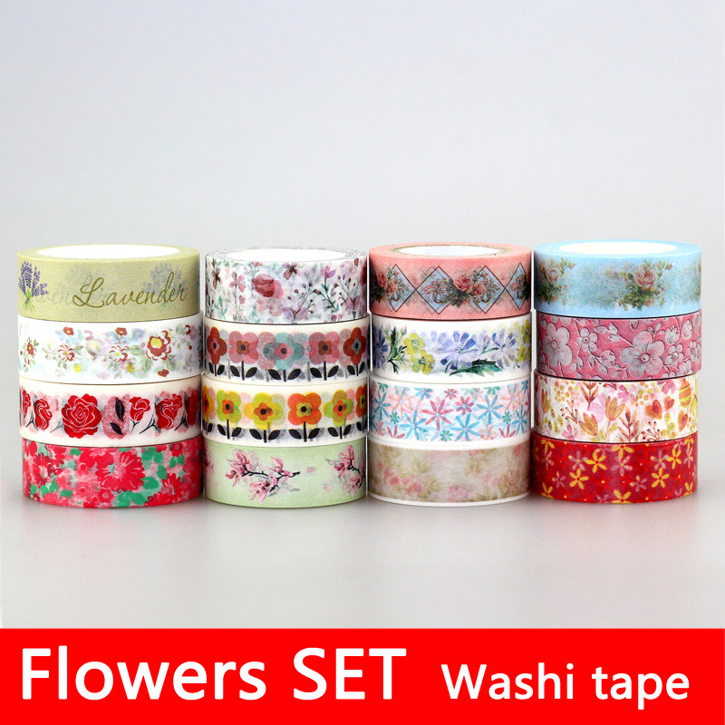 Cherry blossoms adhesive tape flowers floral set for Adhesive decoration