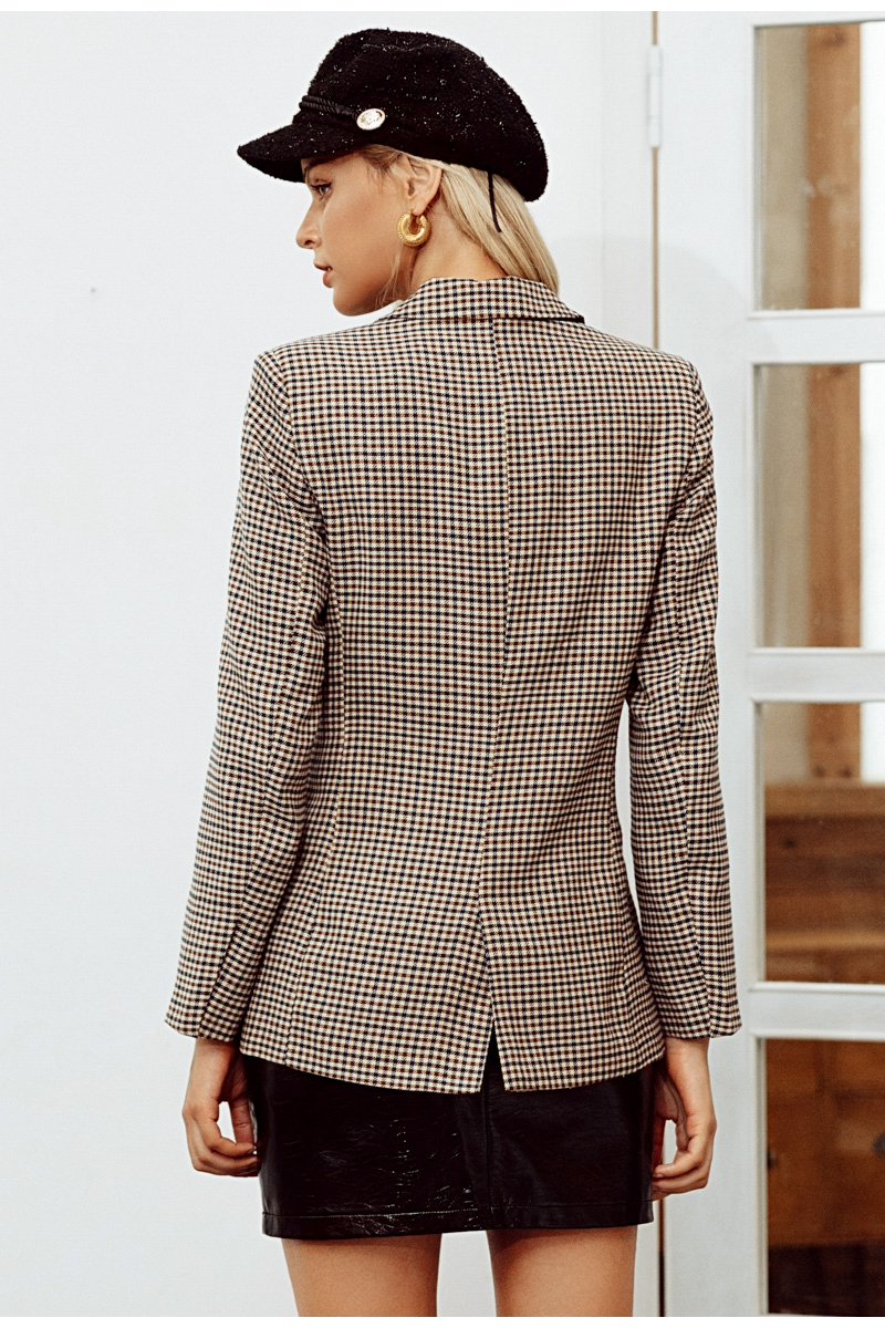Simplee Fashion double breasted plaid blazer Female long sleeve office ladies blazer 18 Autumn jacket women outerwear coats 10