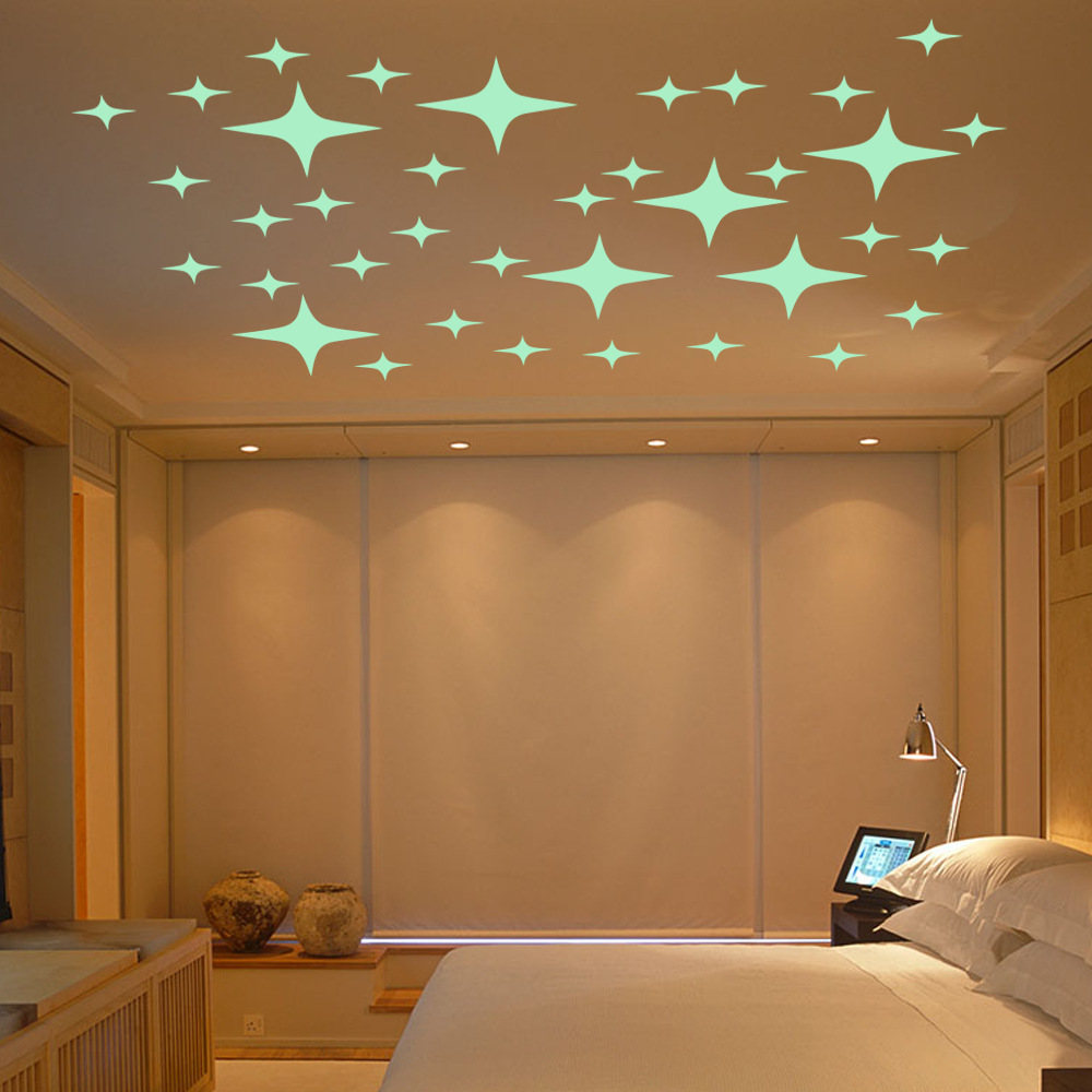 Cartoon Wall Stickers Luminous Stars Wallpaper Night Sky
