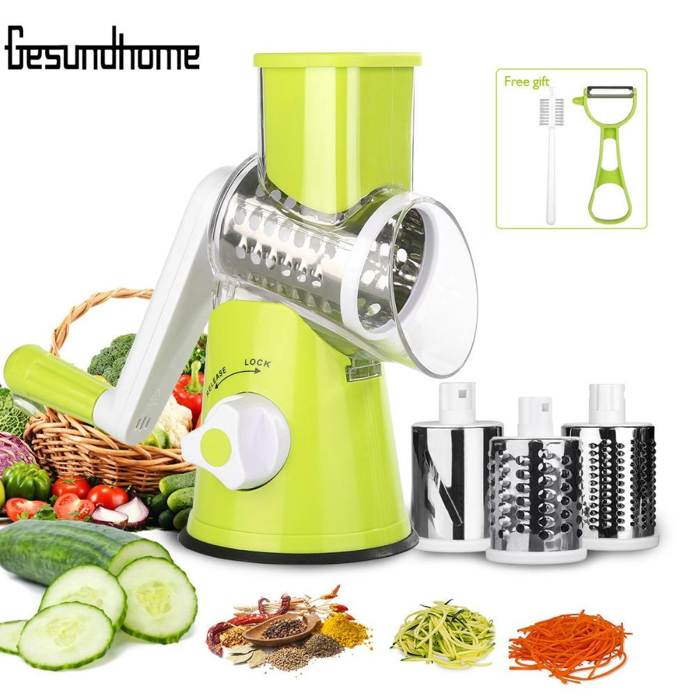 Adjustable Round Spiral Slicer Grater Nuts Fruit Vegetable Chopper Kitchen Tools Cutter Shredder Manual Cutting Slicer New Safe ...