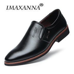 IMAXANNA Luxury Brand Men Shoes Casual Leather 2018 Winter New Fashion Men Flats Round Toe Comfortable Office Men Dress Shoes