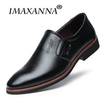 IMAXANNA luksusowa marka mężczyźni buty Casual Leather 2019 wiosna jesień zima moda płaskie buty męskie wygodne biuro mężczyźni ubierają buty