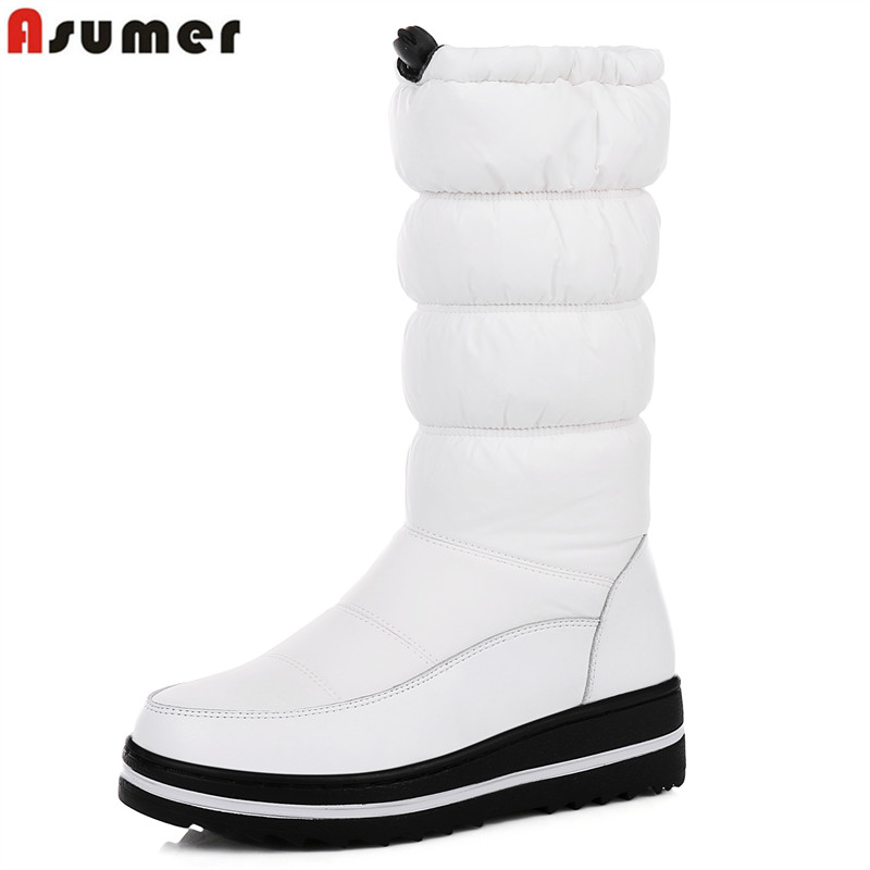 ASUMER Plus size 35 44 New Russia like genuine leather snow boots women mid calf half
