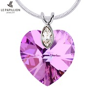 LEPAPILLION 925 Sterling Silver Women Necklace Heart Crystal Amethyst Pendant Necklace Fine Jewelry Collares Jewelry Gift